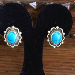 VINTAGE TAXCO STERLING AND TURQUOISE EARRINGS